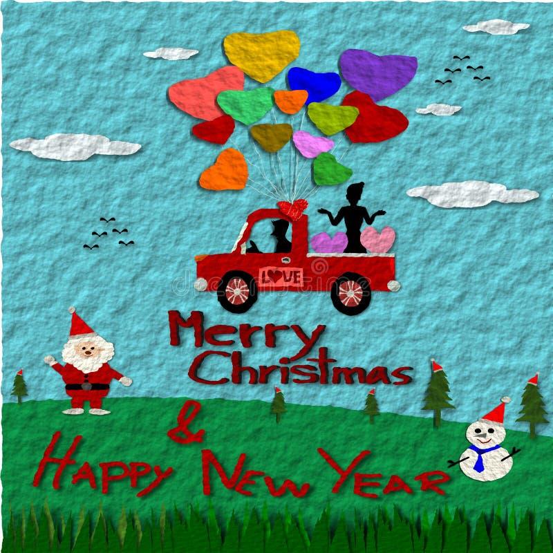 Document kunststijl, de Kaart van de Kerstmisgroet, Vrolijke Kerstmis en Gelukkig Nieuwjaar vector illustratie
