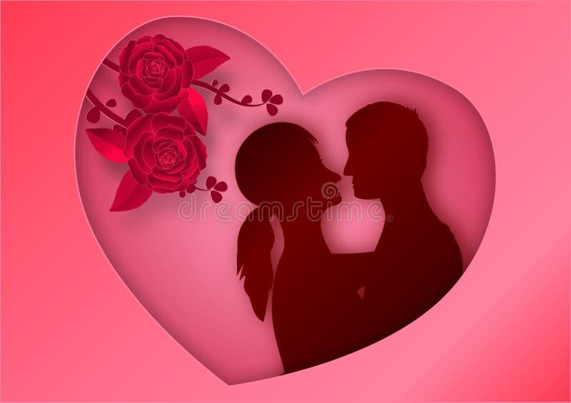 Document kunststijl van roze bloemen op roze achtergrond in de vorm van het kaderhart met de mens en vrouw in liefde Vector illus stock illustratie