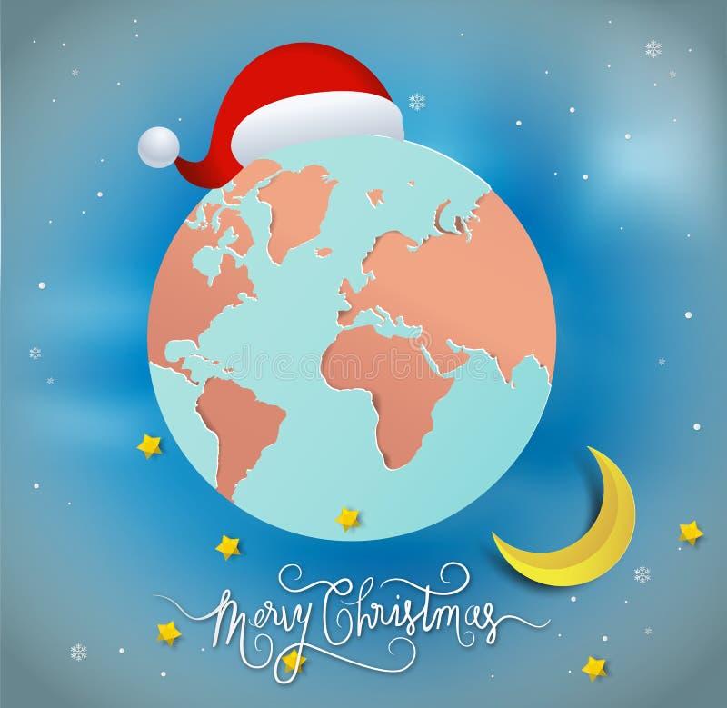 Document kunststijl van Vrolijke Kerstmis en Gelukkig Nieuwjaar Santa Hat royalty-vrije illustratie