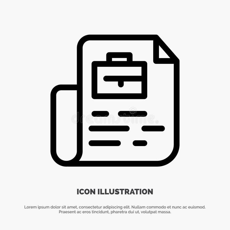 Document, le travail, dossier, ligne vecteur de sac d'icône illustration stock