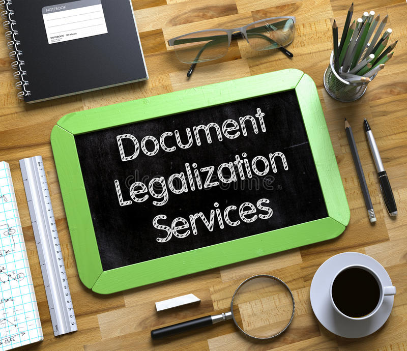 Document Legalization Services - Text on Small Chalkboard. 3D. Small Chalkboard with Document Legalization Services. Top View of Office Desk with Stationery and royalty free stock image