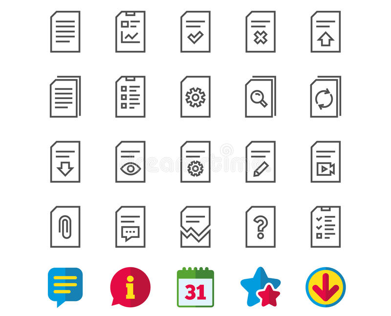 Document Line Icons Report Checklist And Copy Stock Vector