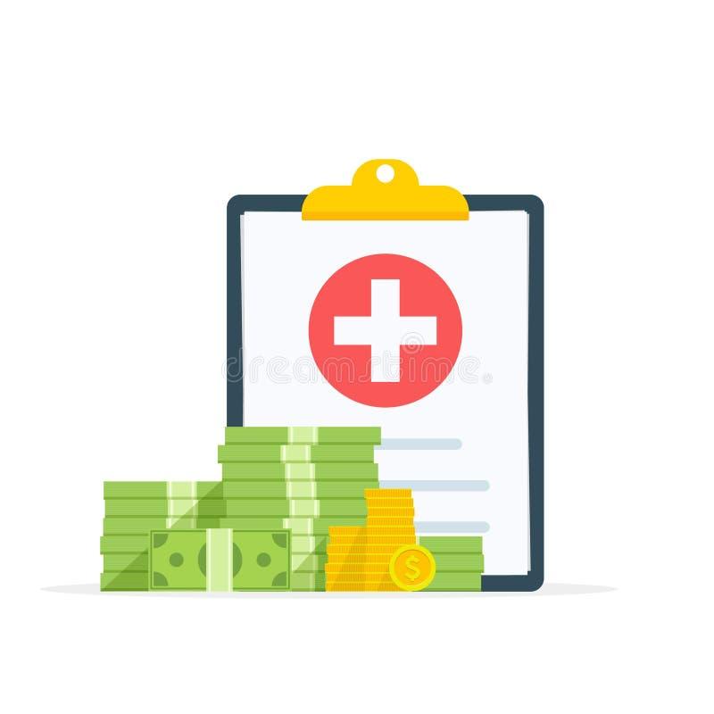 Document médical de presse-papiers avec l'argent, forme d'assurance médicale maladie avec la pile de l'argent, idée de médecine c illustration libre de droits
