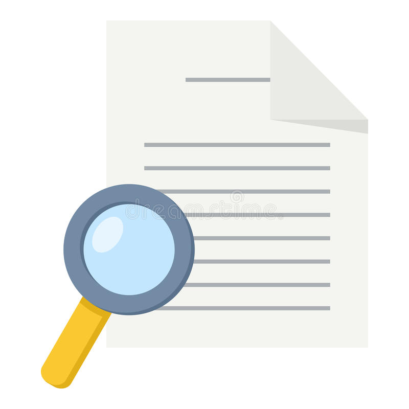 Document & Magnifying Glass Flat Icon. Blank document flat icon with small magnifying glass, isolated on white background. Eps file available royalty free illustration