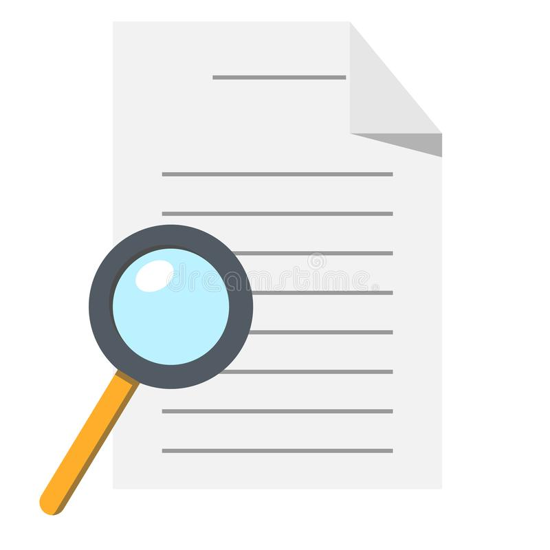 Document and magnifying glass flat icon web design stock illustration