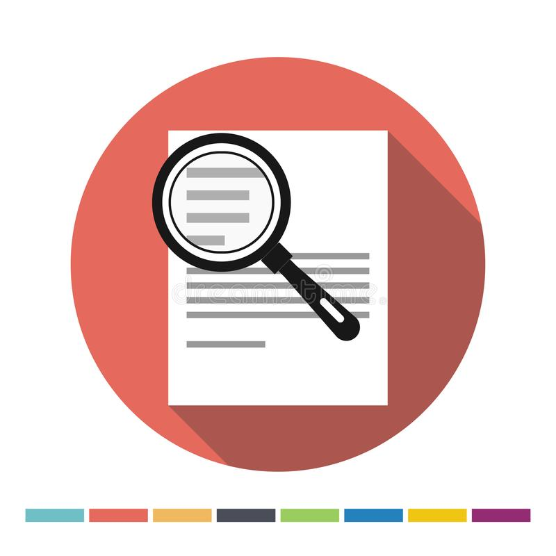 Document and magnifying glass icon stock illustration