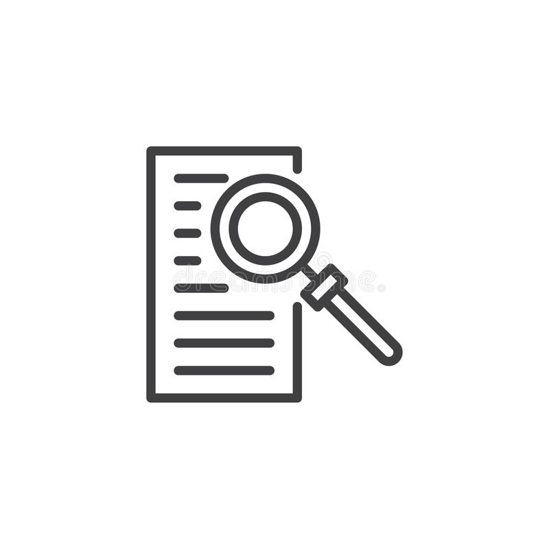 Document with magnifying glass outline icon royalty free illustration