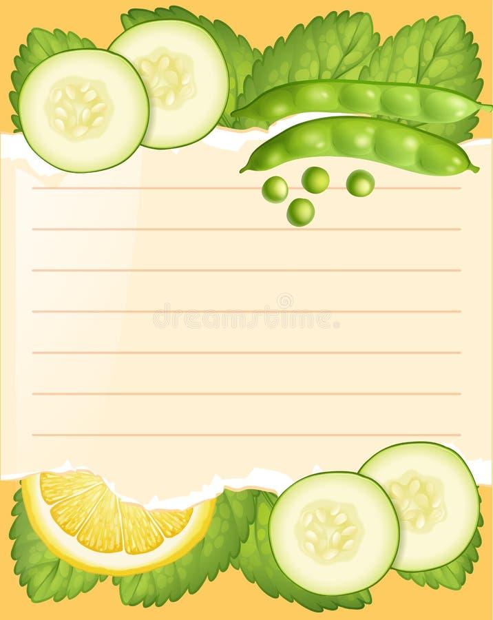 Document malplaatje met komkommer en bonen vector illustratie