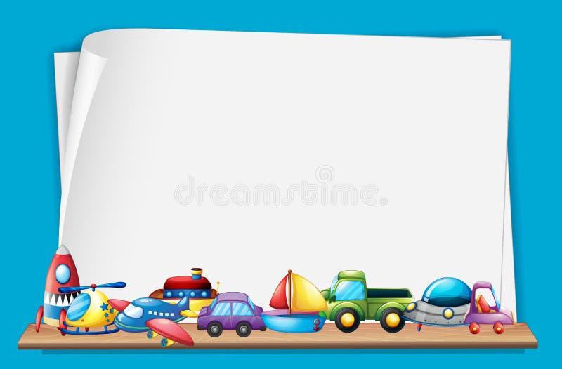 Document malplaatje met veel speelgoed royalty-vrije illustratie
