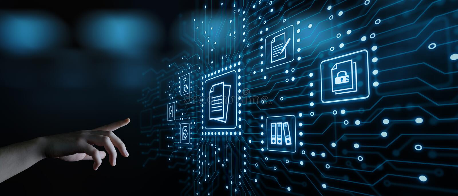 Document Management Data System Business Internet Technology Concept stock image