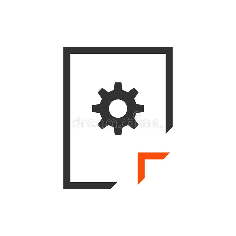Document Management icon. Information File with Cogwheel sign. Paper page concept symbol. File Management Vector Illustration. Document Management icon stock illustration