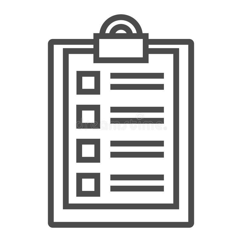 Document met het pictogram van de controlelijstlijn Vragenlijst, lijst om te doen, uiterste termijn Onderzoeksconcept Vectordiepi vector illustratie
