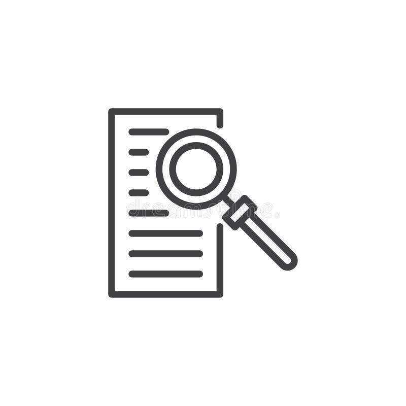 Document met het pictogram van het vergrootglasoverzicht royalty-vrije illustratie