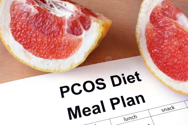 Document met PCOS-het plan van de dieetmaaltijd stock fotografie