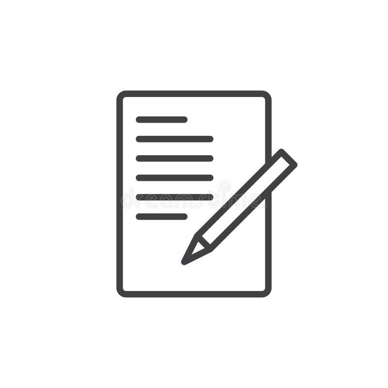 Document met pen, het pictogram van de vormlijn, overzichts vectorteken, lineair die stijlpictogram op wit wordt geïsoleerd royalty-vrije illustratie