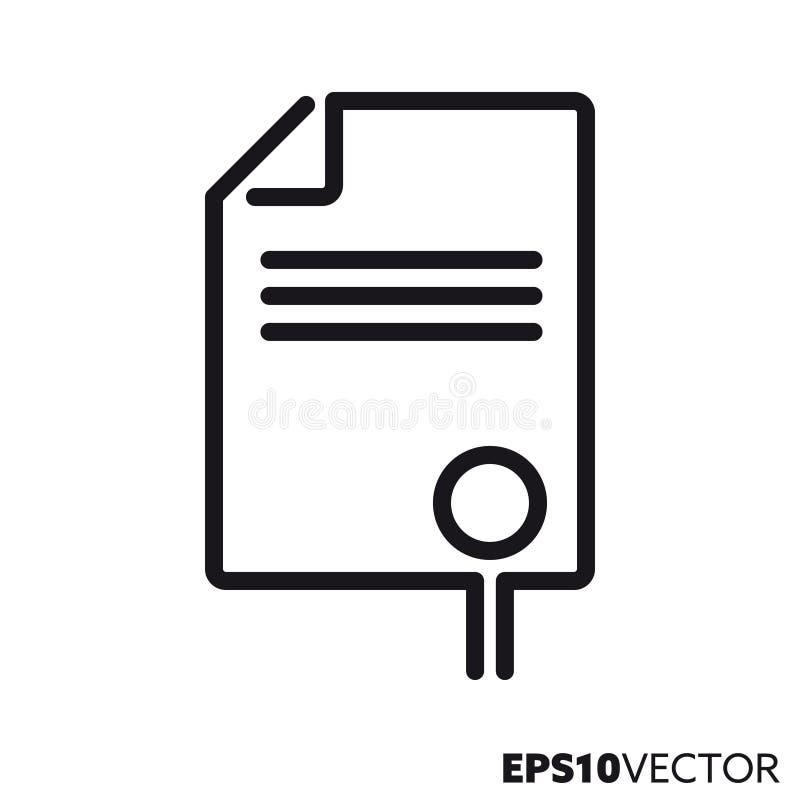 Document met pictogram van de verbindings het vectorlijn stock illustratie