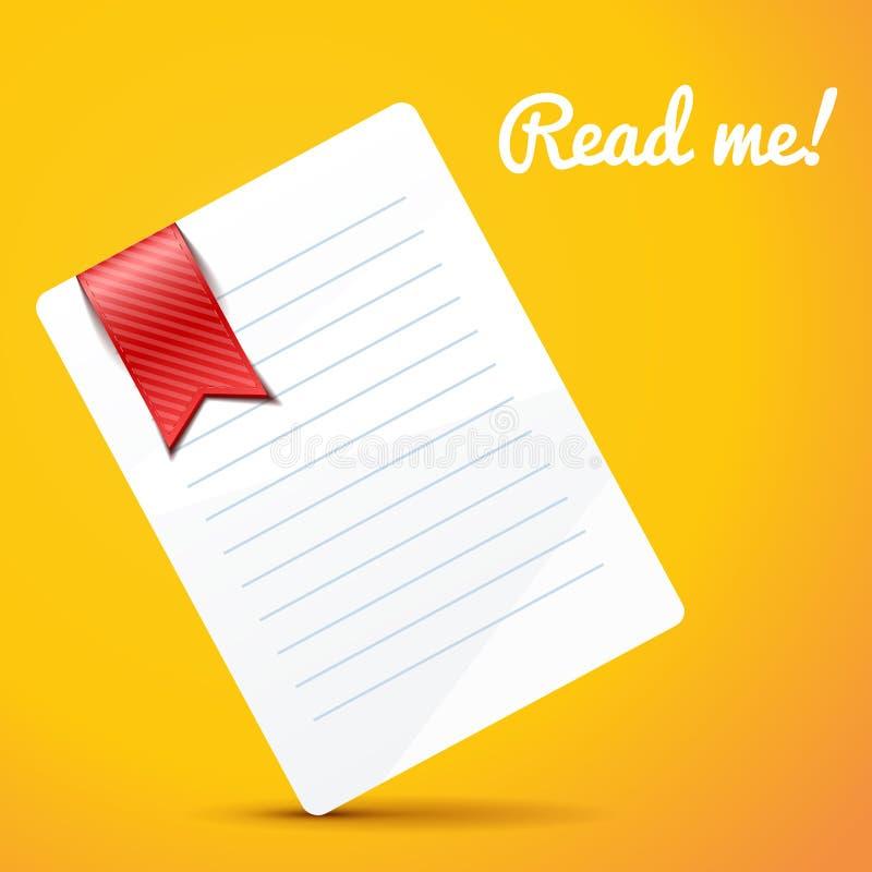 Document met referentie op oranje achtergrond vector illustratie