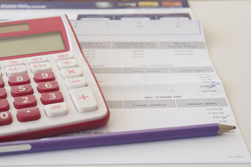 check monthly bank account statement stock photos