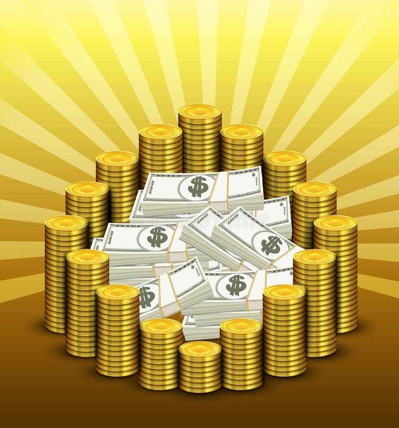 Document munt en gouden van muntstukken vector illustratie