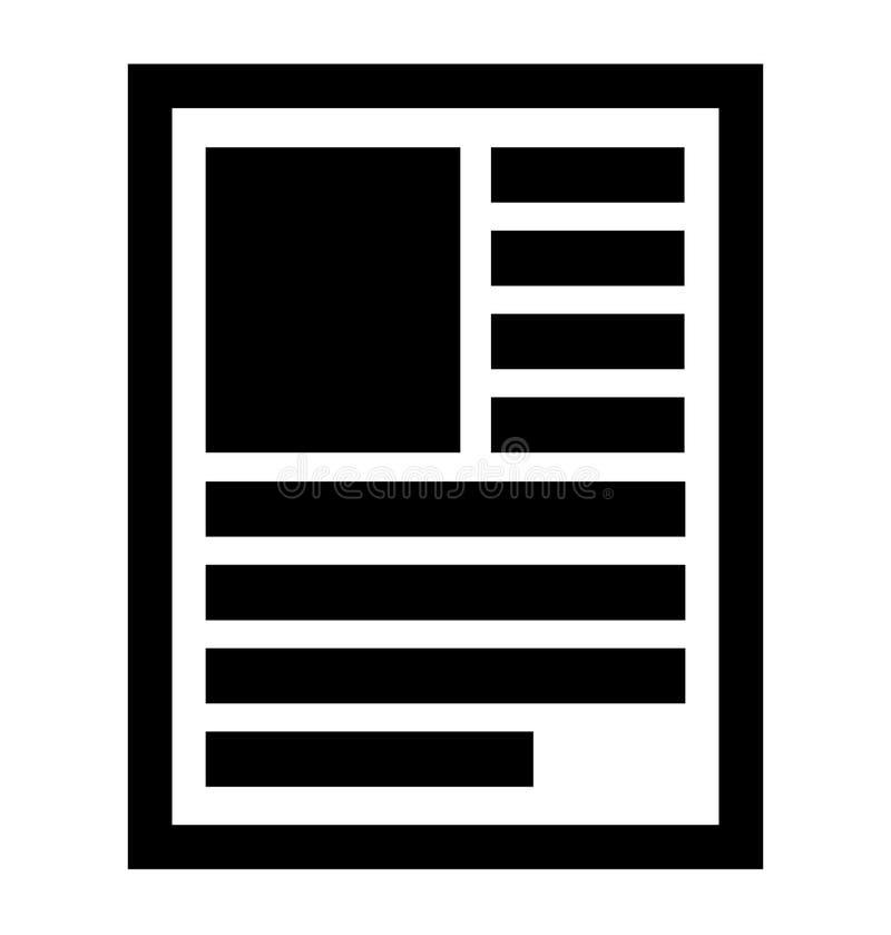 Document, nota, boek, het symbool van de publicatiepagina, pictogram Lay-out van a vector illustratie