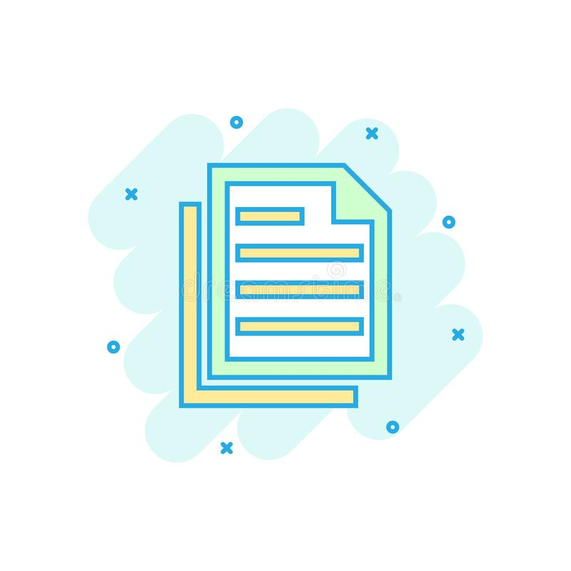 Document note icon in comic style. Paper sheet vector cartoon illustration pictogram. Notepad document business concept splash. Effect stock illustration