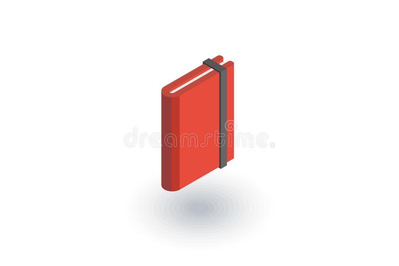 Document notitieboekje, sketchbook, blocnote isometrisch vlak pictogram 3d vector stock illustratie