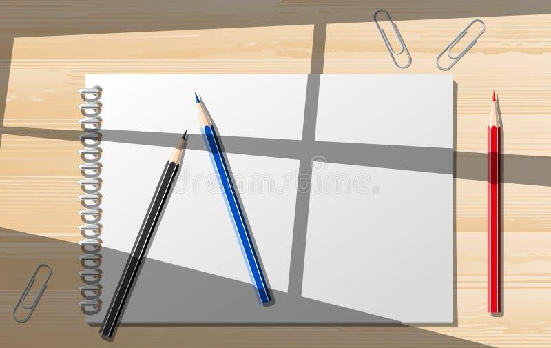 Document notitieboekjes met kantoorbehoeften stock illustratie