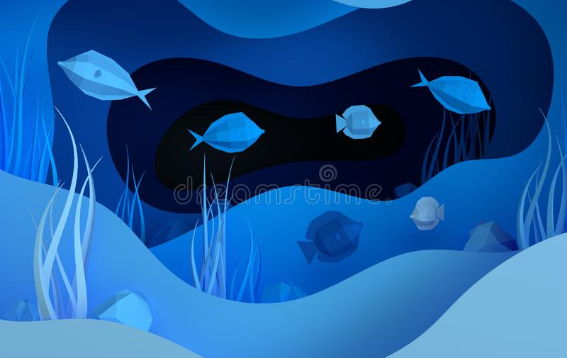 Document onderwater overzees hol met vissen, stenen, zeebedding in algen, golven Het document sneed diepe 3d stijl teruggeeft Het royalty-vrije illustratie
