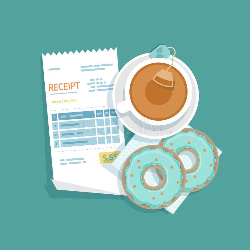 Document ontvangstbewijs, een kop thee, donuts Restaurantrekening het betalen Klanten` s betaling voor de koffiedienst Kassiersco vector illustratie