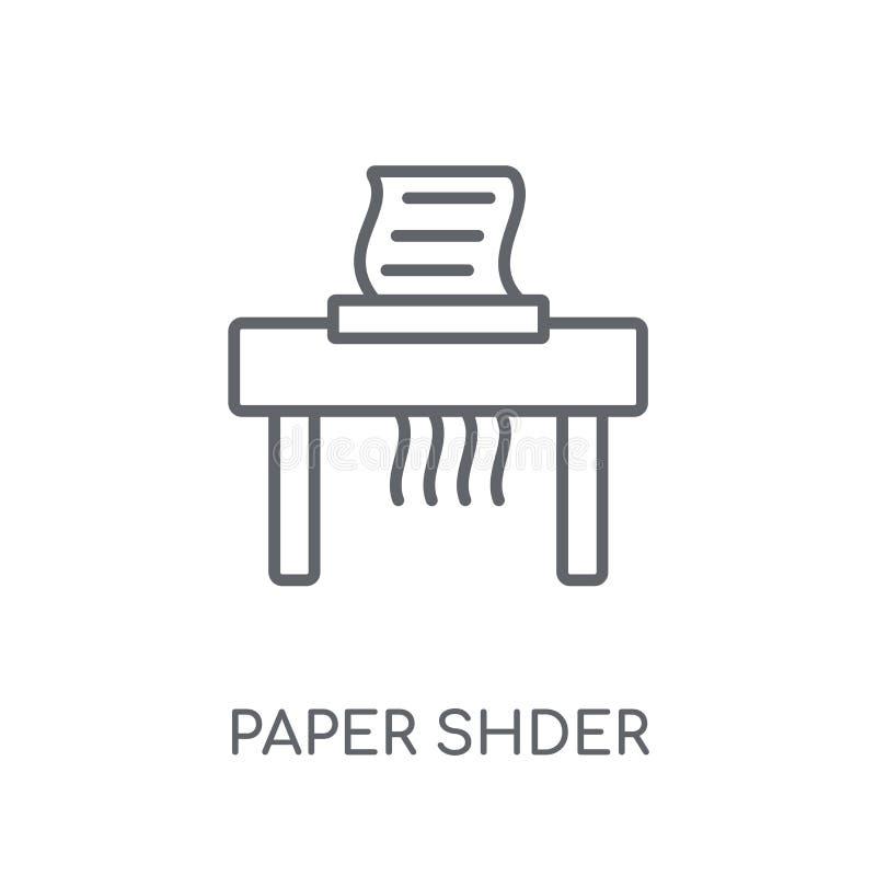 Document ontvezelmachine lineair pictogram Modern overzichtsdocument ontvezelmachineembleem c royalty-vrije illustratie