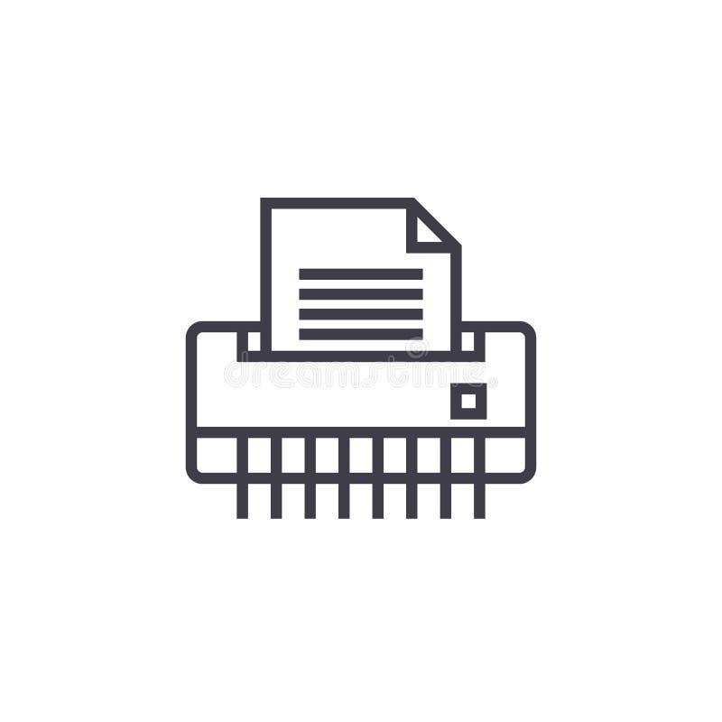 Document ontvezelmachine, vector de lijnpictogram van de bureauprinter, teken, illustratie op achtergrond, editable slagen stock illustratie
