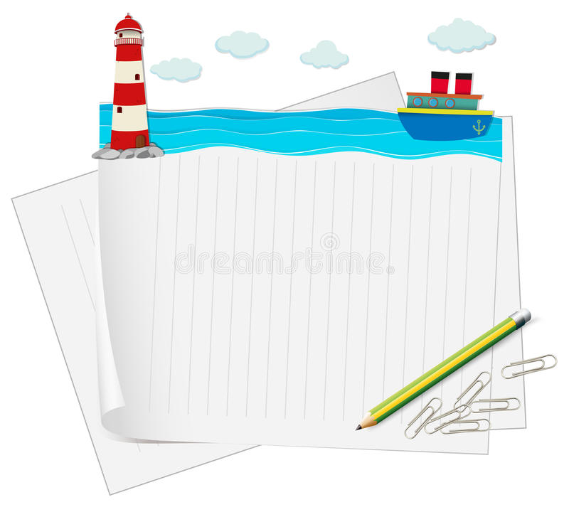 Document ontwerp met oceaanmening stock illustratie