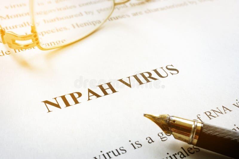Document over Nipah-virus NiV stock afbeelding