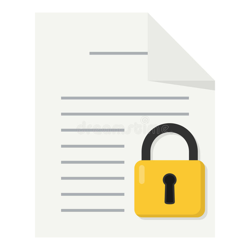 Document with Padlock Flat Icon Isolated vector illustration