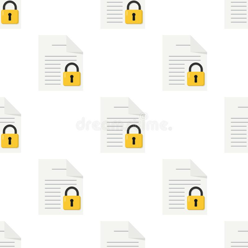 Document with Padlock Seamless Pattern vector illustration
