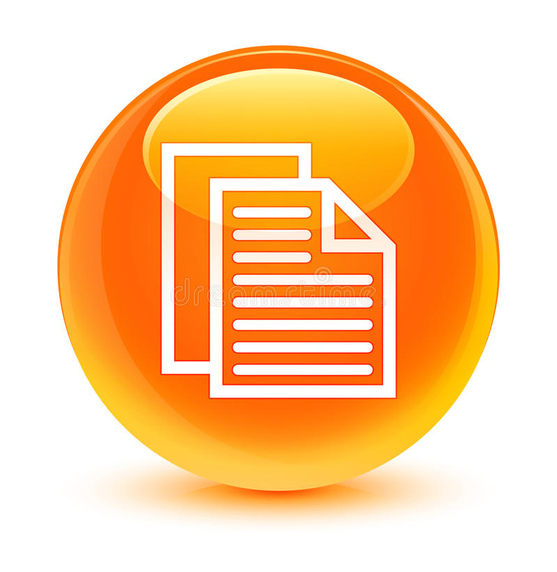 Document pages icon glassy orange round button. Document pages icon isolated on glassy orange round button abstract illustration royalty free illustration