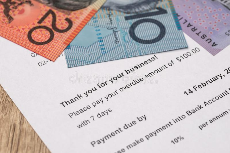 Document of payment with australian dollar banknotes. Document of payment with australian dollar stock photography