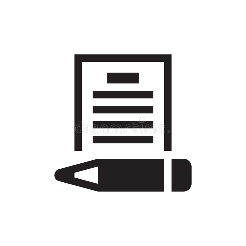 Document with pen - black icon on white background vector illustration for website, mobile application, presentation, infographic. royalty free illustration