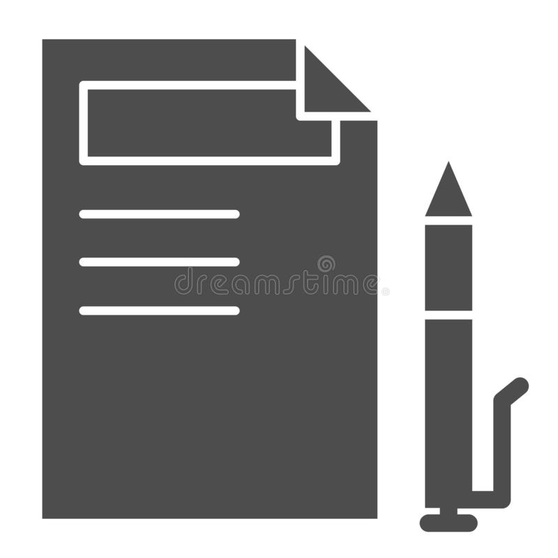 Document and pen solid icon. Paper and pencil vector illustration isolated on white. Sign list glyph style design. Designed for web and app. Eps 10 royalty free illustration