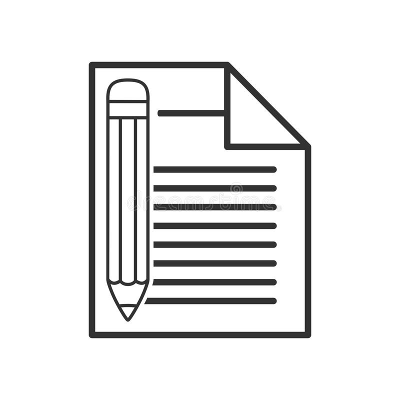 Document with Pencil Outline Flat Icon stock illustration