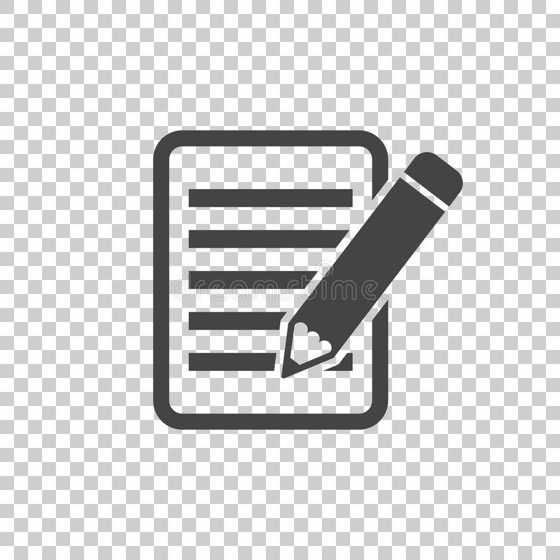 Document with pencil pictogram icon. Simple flat illustration for business, marketing internet concept on white background. Trend stock illustration