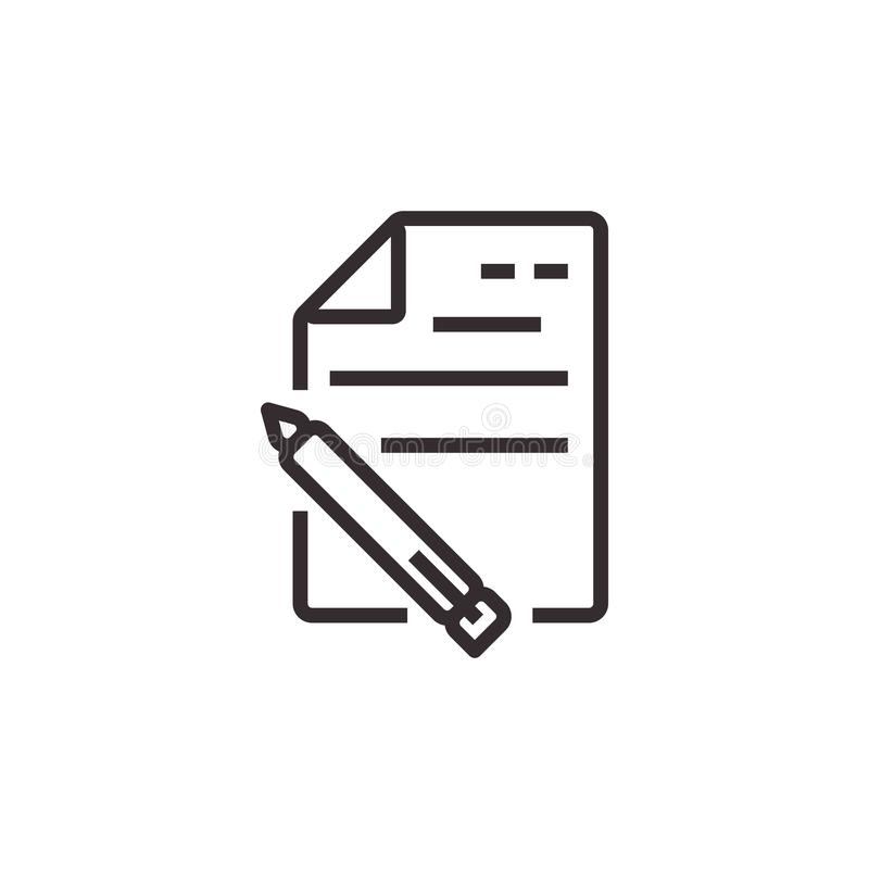 Document and Pencil Vector Icon, Pixel perfect Eps10. Office Symbol royalty free illustration
