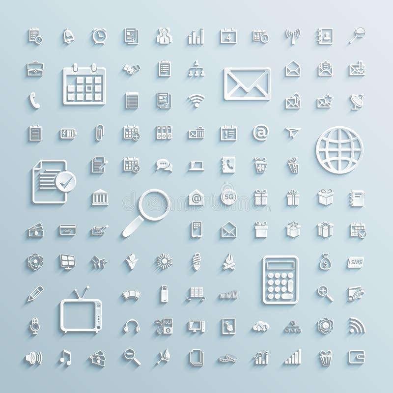 Document pictogrammenreeks van het bureau Internet van financiëngebeurtenissen stock illustratie
