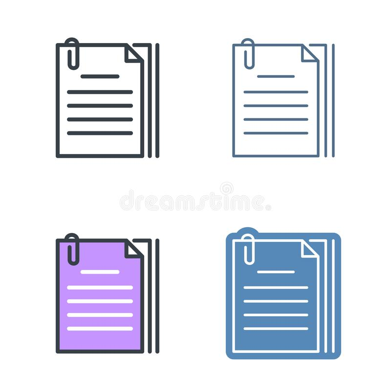 The document pile with paperclip. Vector outline icon set. The document pile with paperclip outline icon set. Office supply line symbols. Sheets and clip linear vector illustration