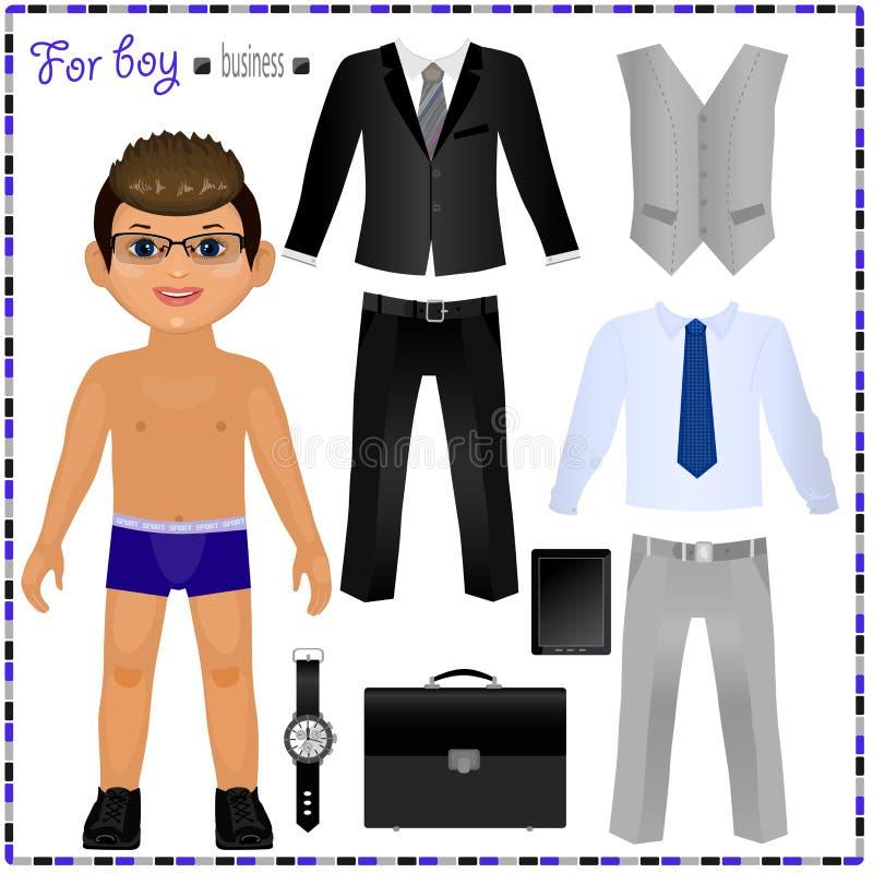 Document pop met een reeks kleren Bedrijfs stijl stock illustratie