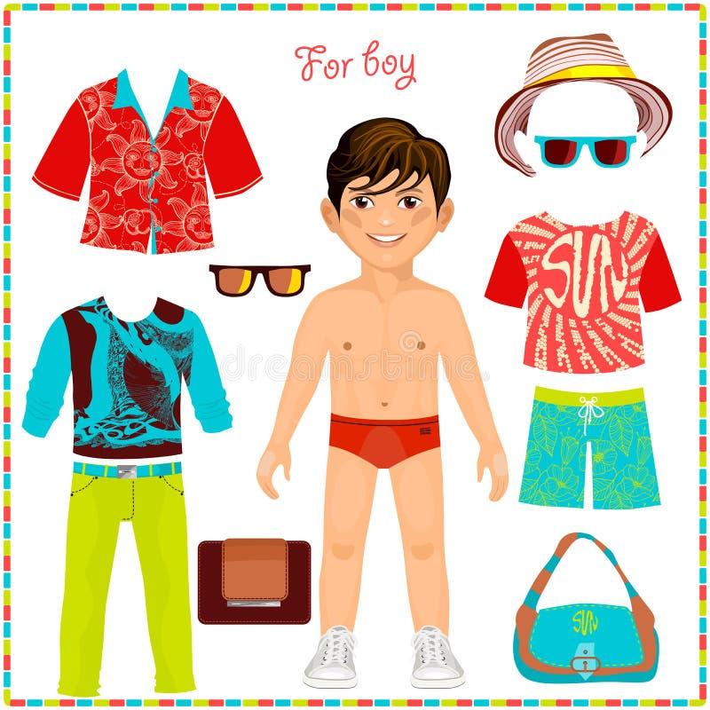 Document pop met een reeks van modieuze kleding stock illustratie