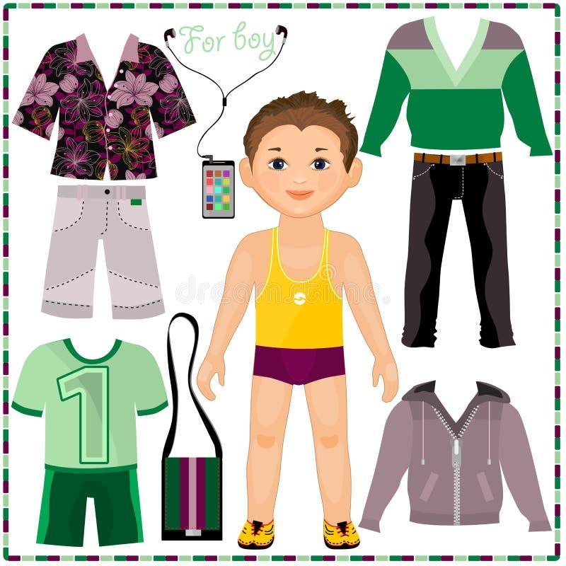 Document pop met een reeks van modieuze kleding. Besnoeiing royalty-vrije illustratie