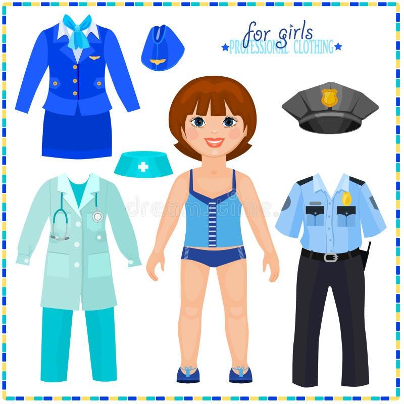 Document pop met een reeks van professionele kleding. vector illustratie