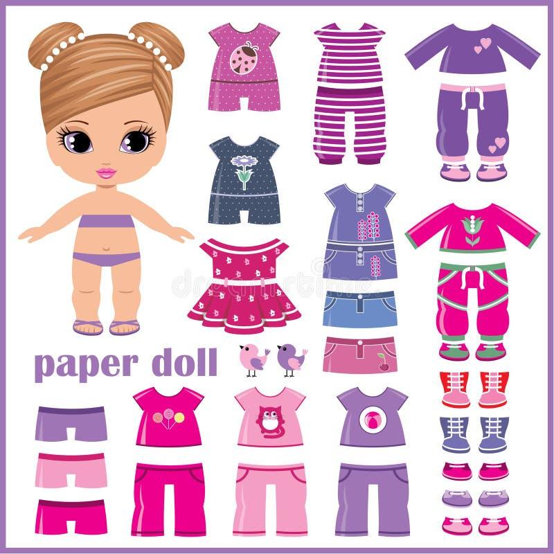 Document pop met geplaatste kleren stock illustratie