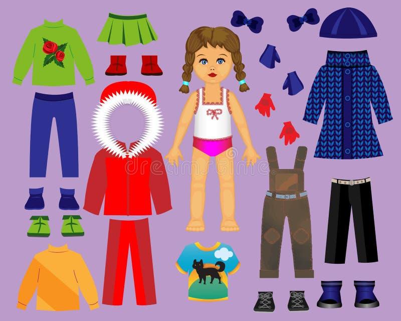 Document poppenkleren en geplaatst voor spel en creativiteit Deel 3 De winter stock illustratie